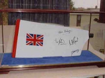 A signed paddle in a DSC Display Case