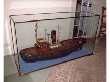 A model of a boat in a DSC Display Case