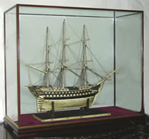 Model Ship in Glass Display Case