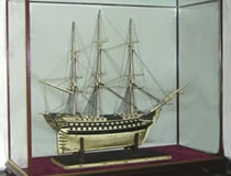 Model Ship in Glass Display Case