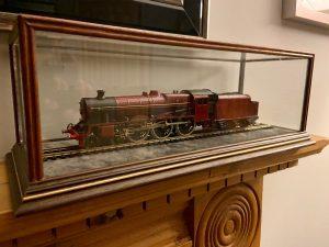 display case housing a train